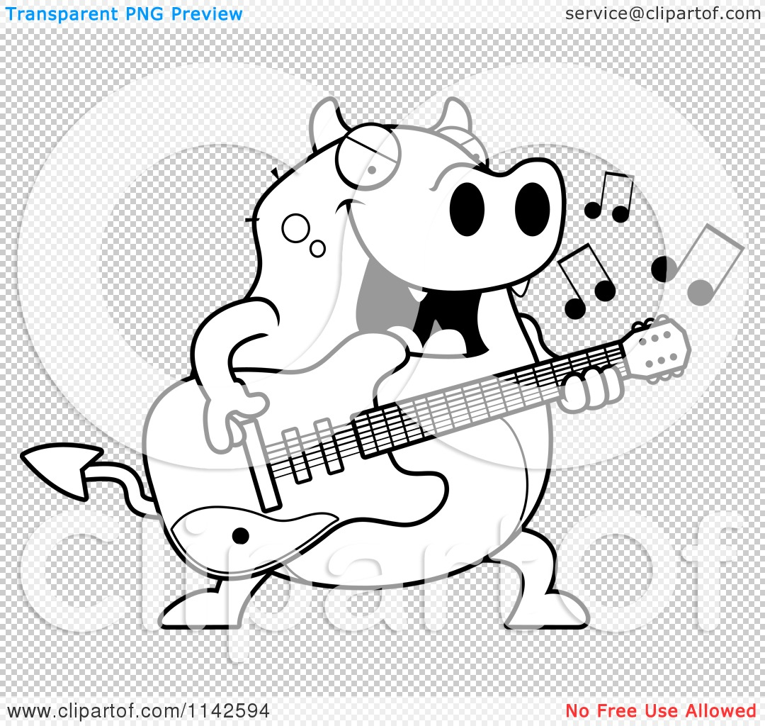 Cartoon Clipart Of A Black And White Chubby Devil Playing