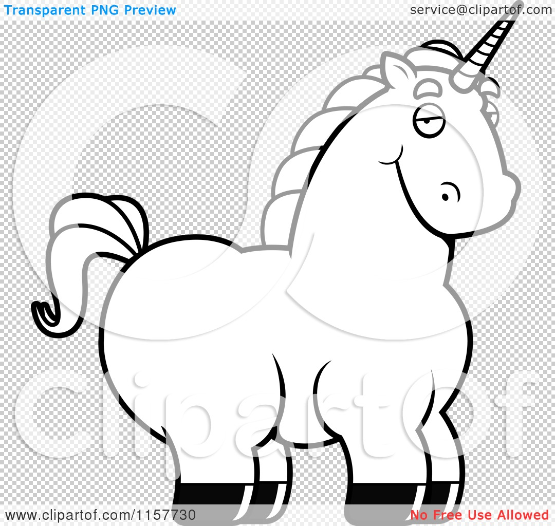 Download Cartoon Clipart Of A Black And White Chubby Unicorn ...