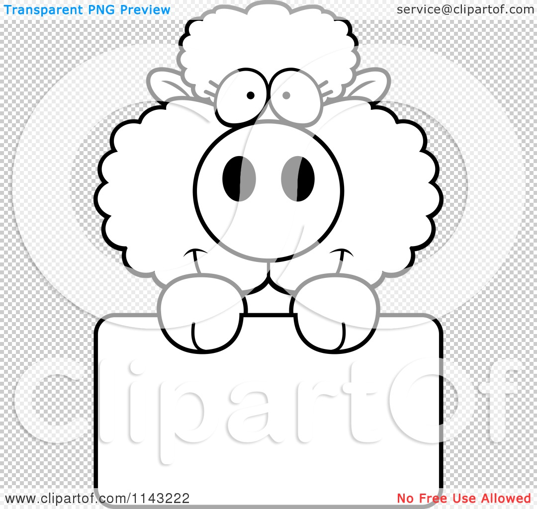 Cartoon Clipart Of A Black And White Cute Baby Sheep Holding A Blank Sign