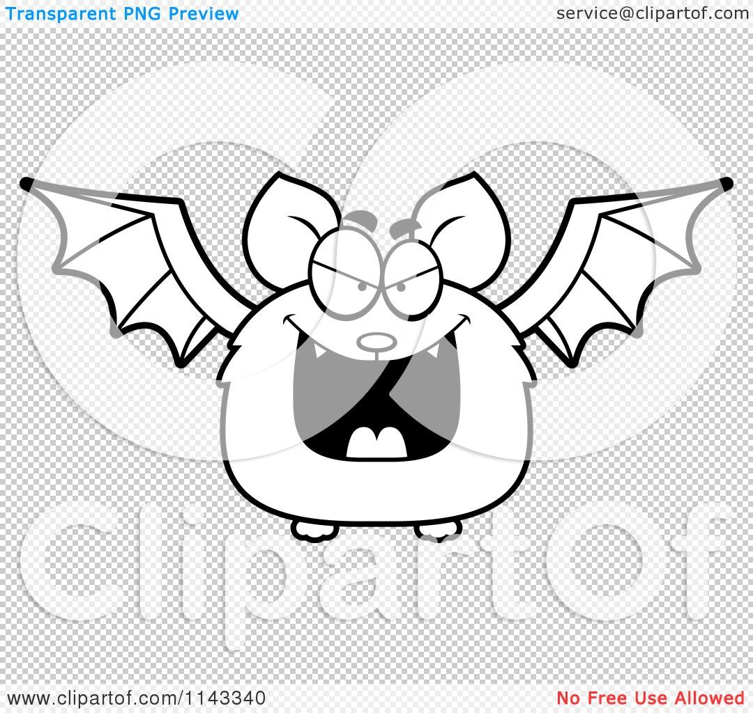 Cartoon Clipart Of A Black And White Evil Bat