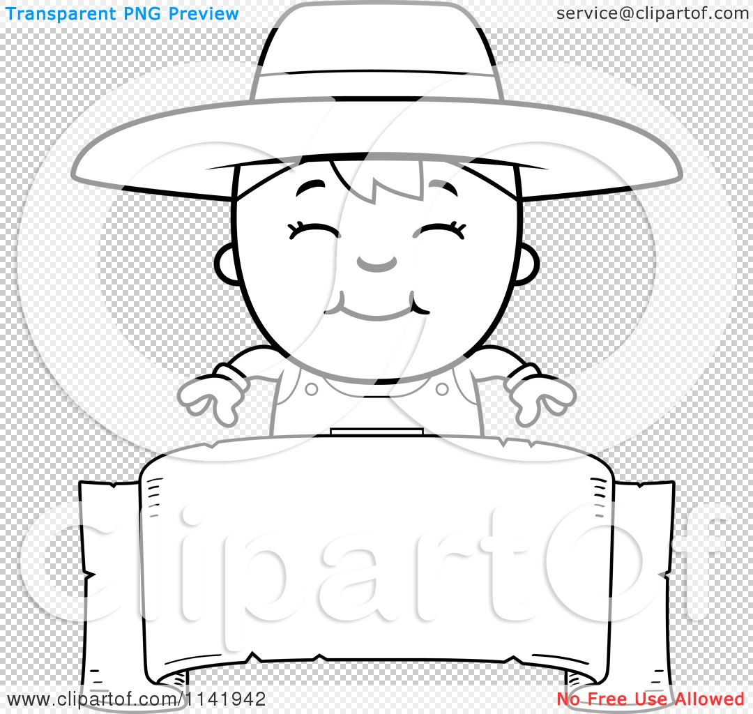 Cartoon Clipart Of A Black And White Farmer Boy Over A