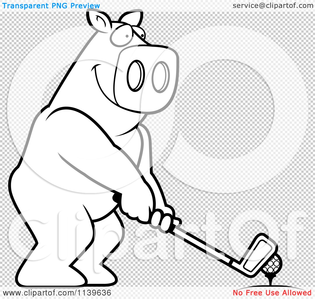 Cartoon Clipart Of A Black And White Golfing Pig Holding