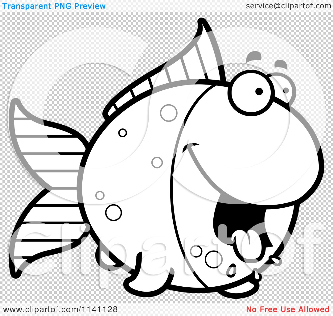 Cartoon Clipart Of A Black And White Hungry Goldfish