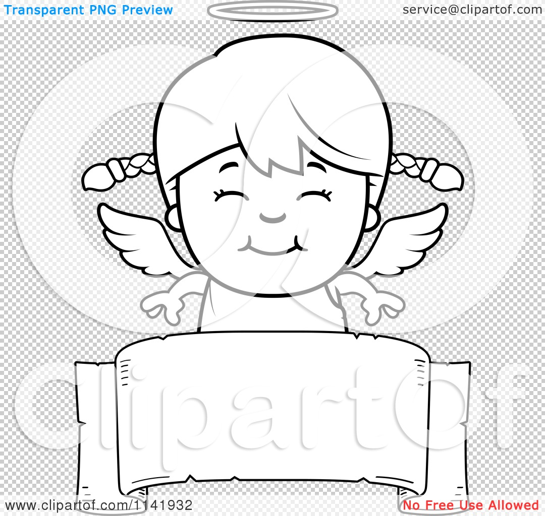 Cartoon Clipart Of A Black And White Smiling Angel Girl
