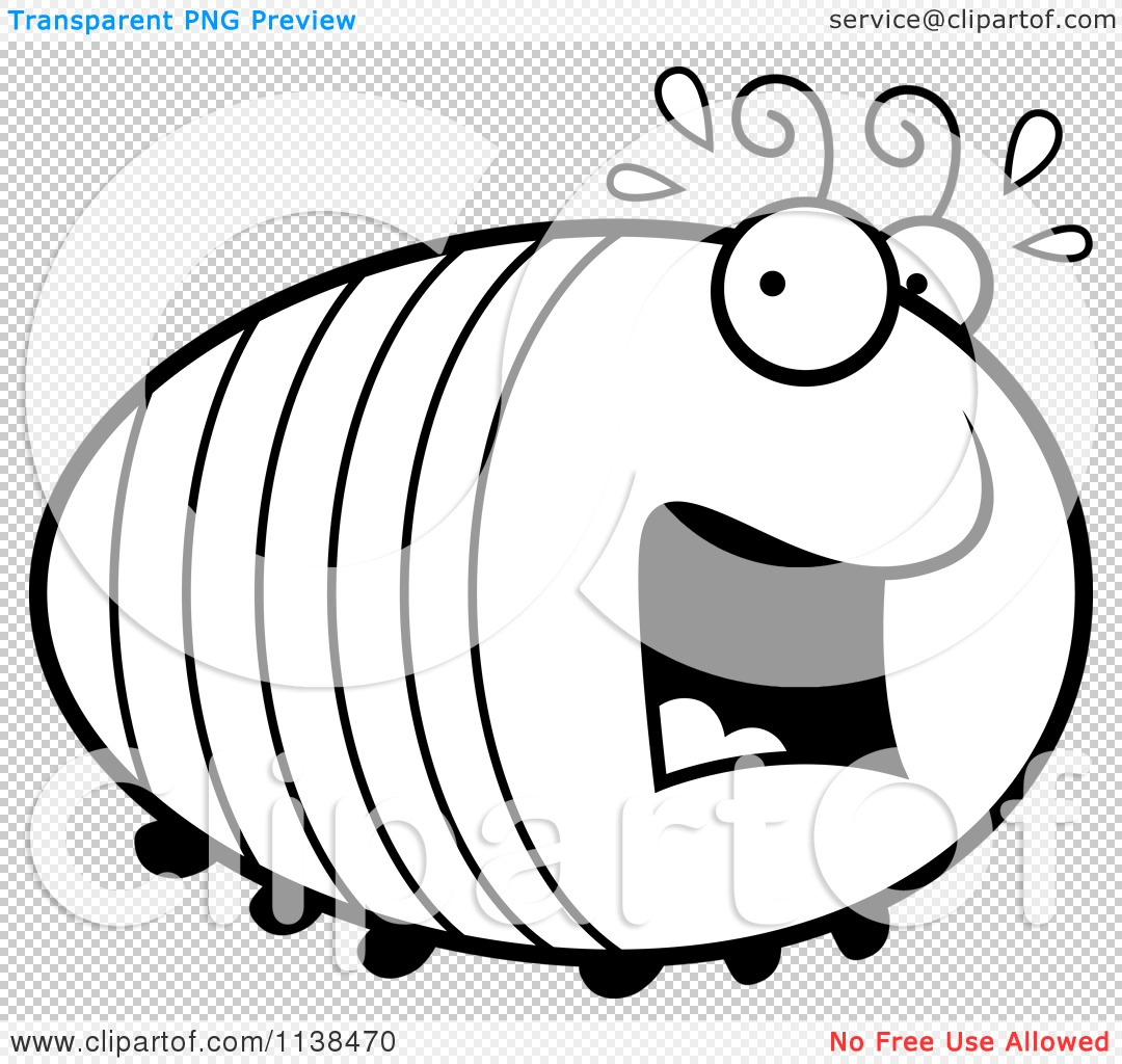 Cartoon Clipart Of An Outlined Chubby Scared Grub