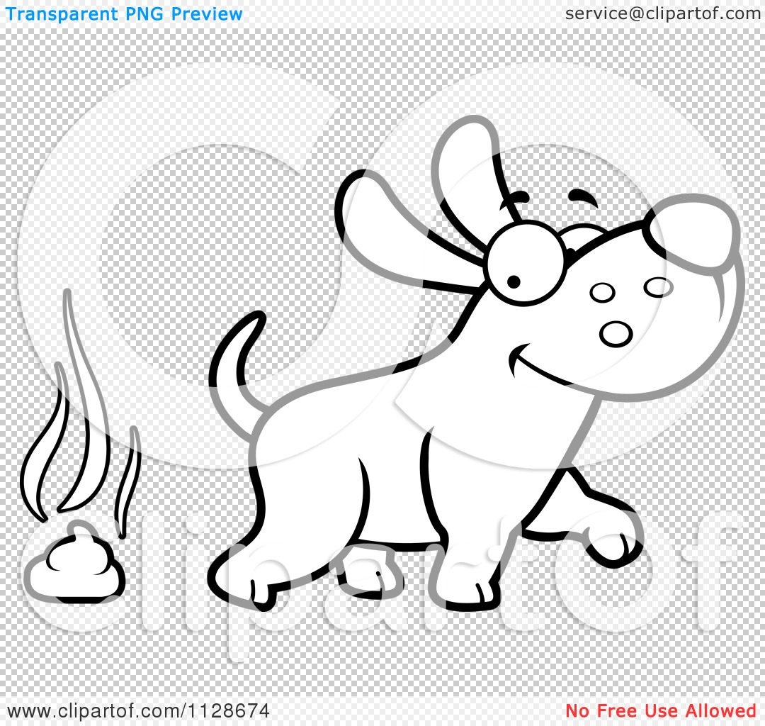 Cartoon Clipart Of An Outlined Happy Dog Walking Away From Poop