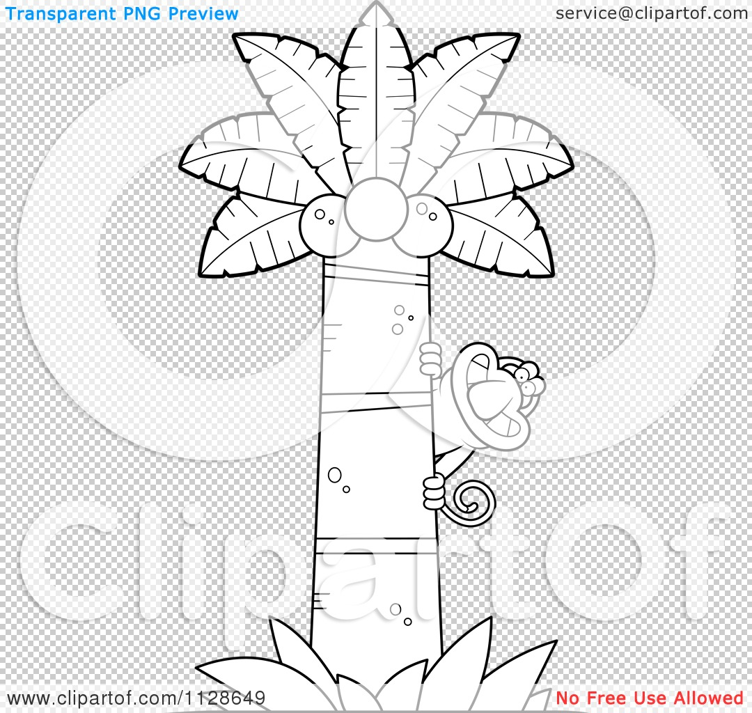 Cartoon Clipart Of An Outlined Proboscis Monkey In A