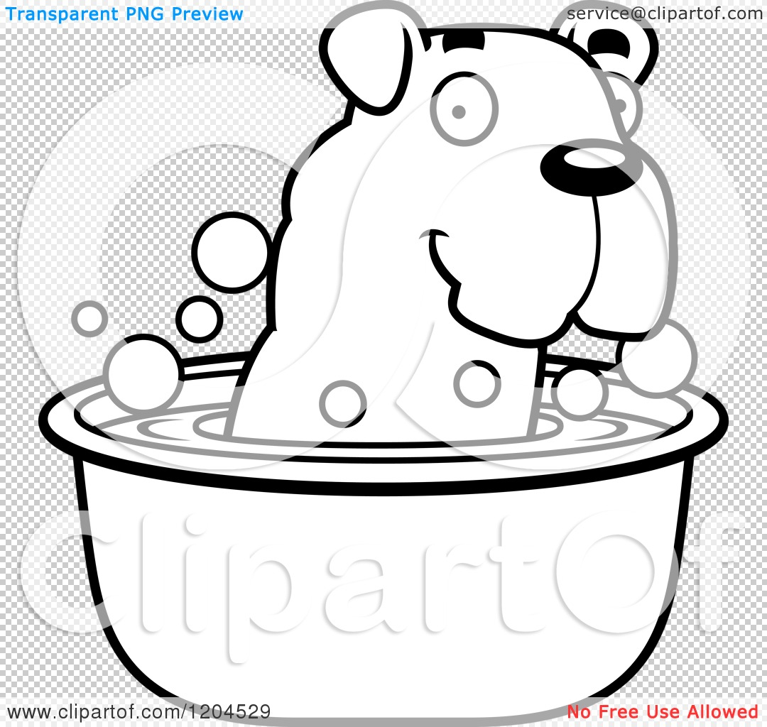 Cartoon Of A Black And White Cute Bulldog Puppy Dog Taking