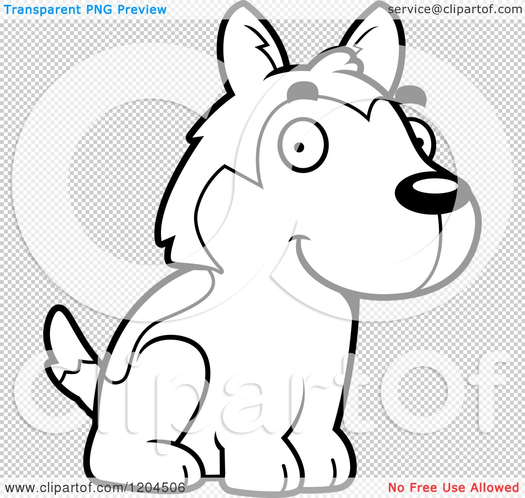 Cartoon Of A Black And White Cute Husky Puppy Dog Sitting