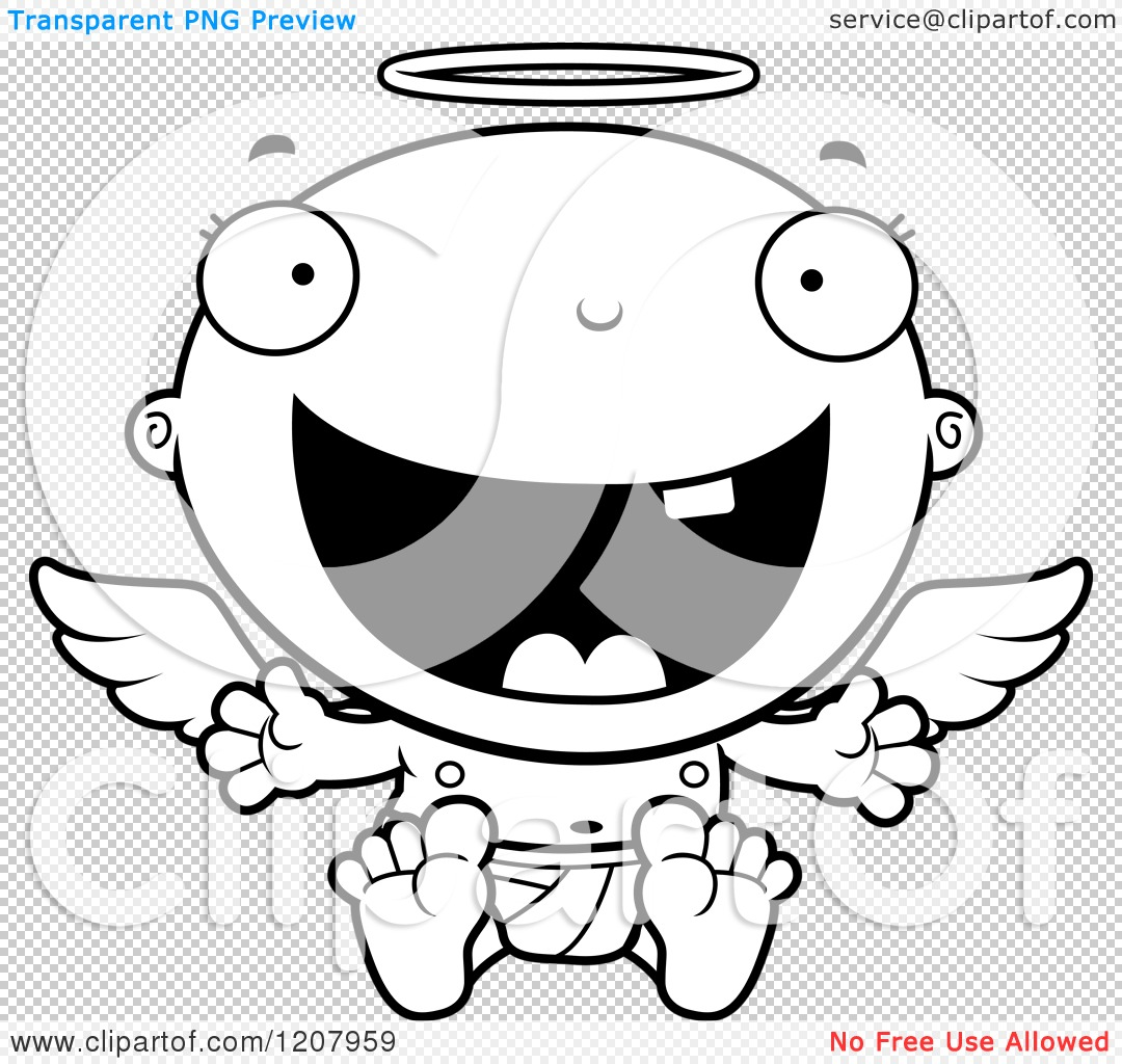 Cartoon Of A Black And White Happy Baby Infant Angel