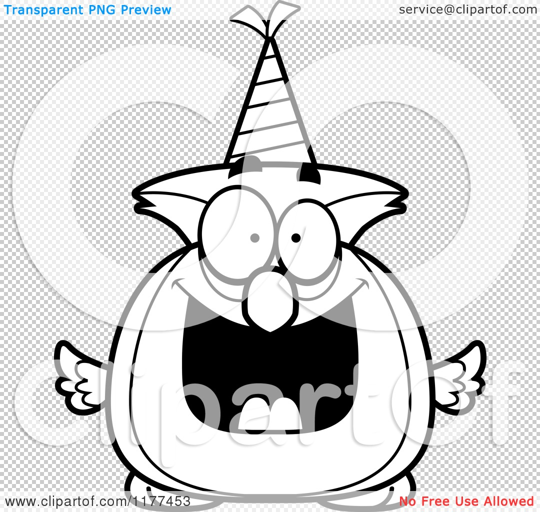 Cartoon Of A Black And White Happy Birthday Owl Wearing A