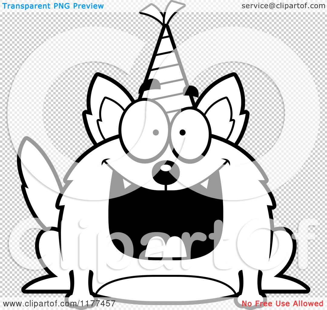 Cartoon Of A Black And White Happy Birthday Wolf Wearing A