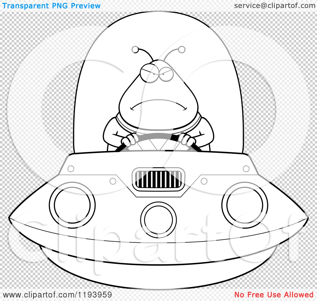 Cartoon Of A Black And White Mad Chubby Alien Flying A Ufo