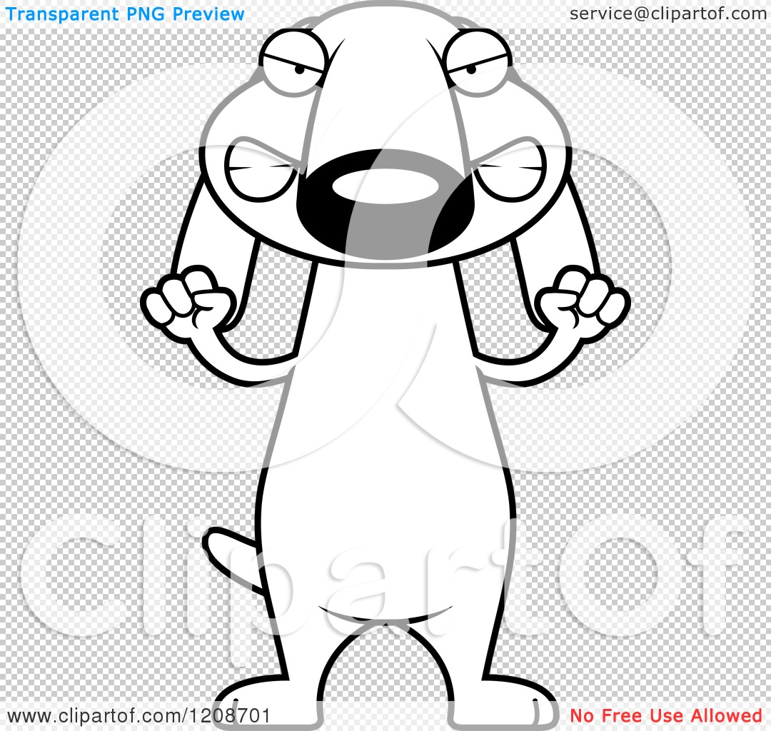 Cartoon Of A Black And White Mad Skinny Dachshund Dog