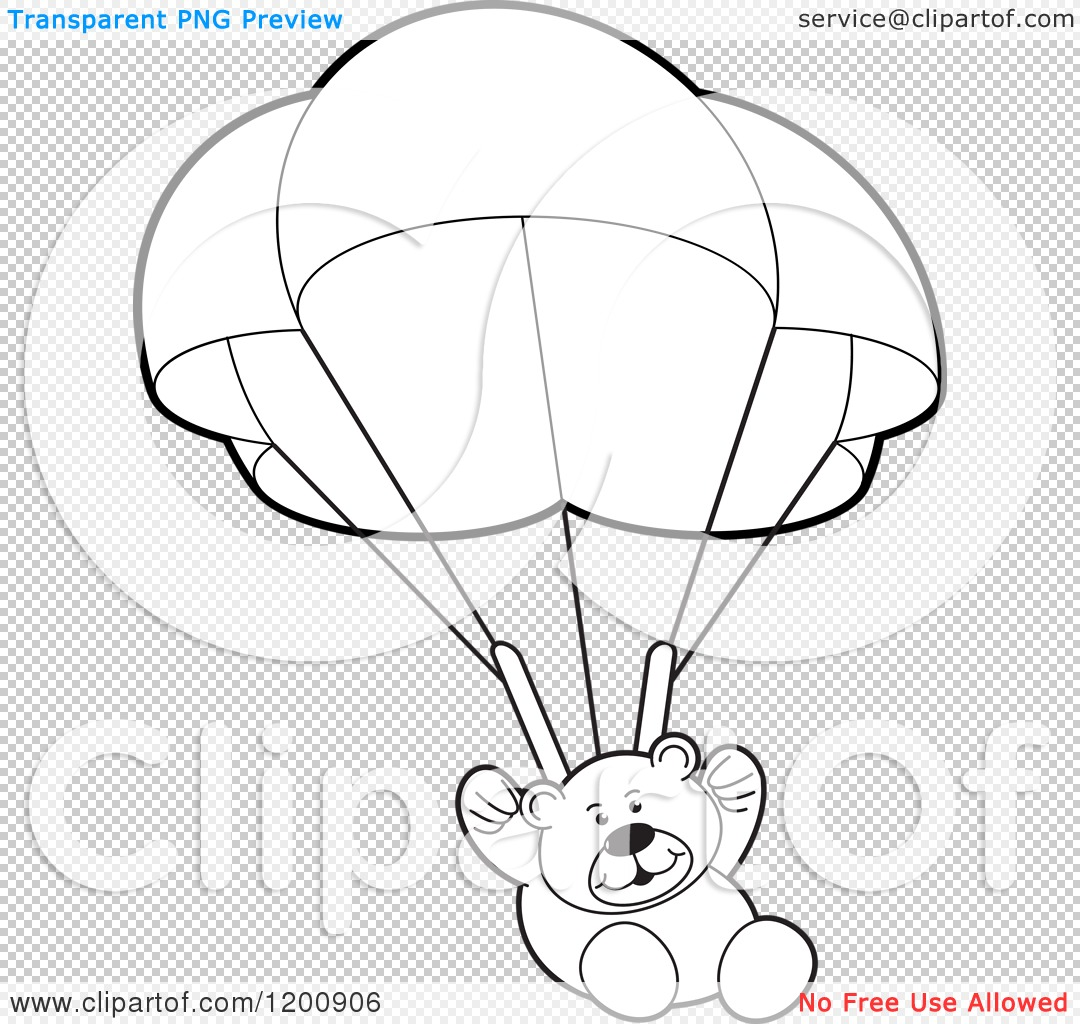 Cartoon Of A Black And White Teddy Bear Floating With A