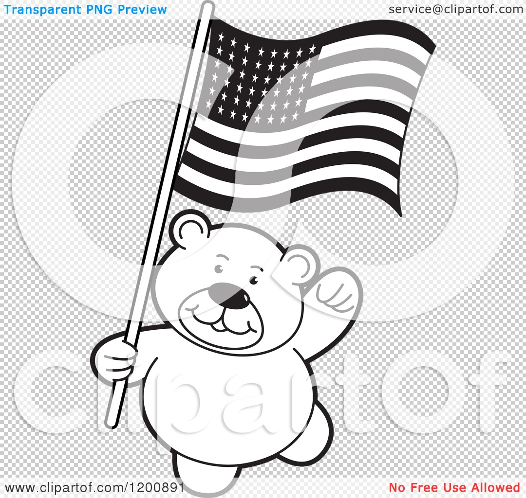 Cartoon Of A Black And White Teddy Bear With An American Flag