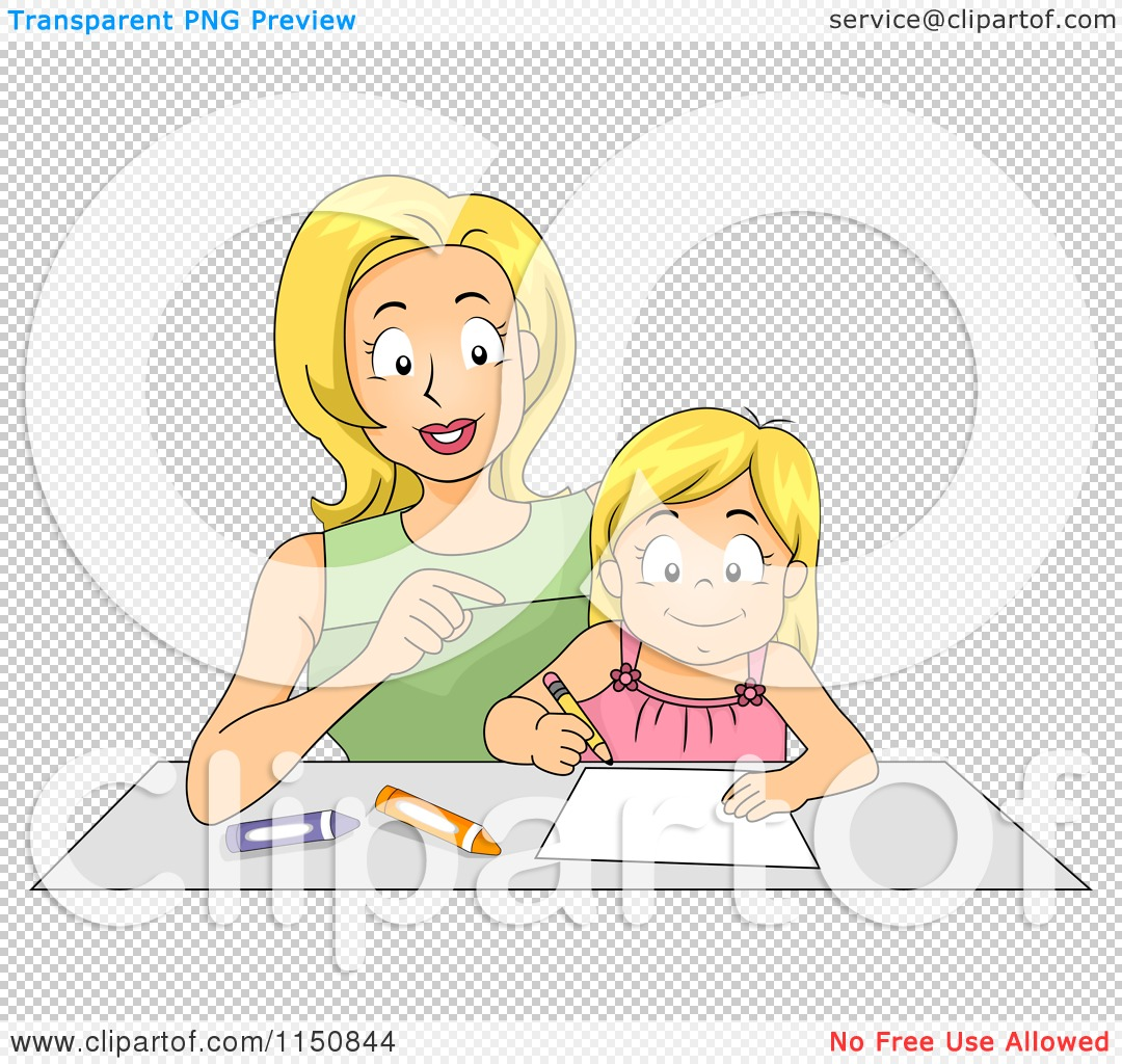 Cartoon Of A Mother Helping Her Daughter How To Write A Letter