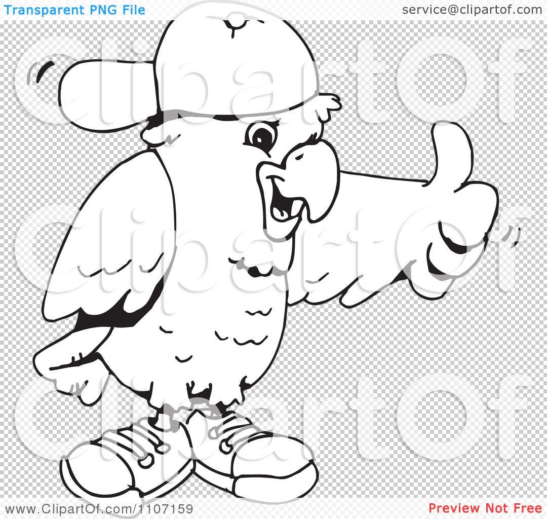 Clipart Black And White Cockatoo Holding A Thumb Up And