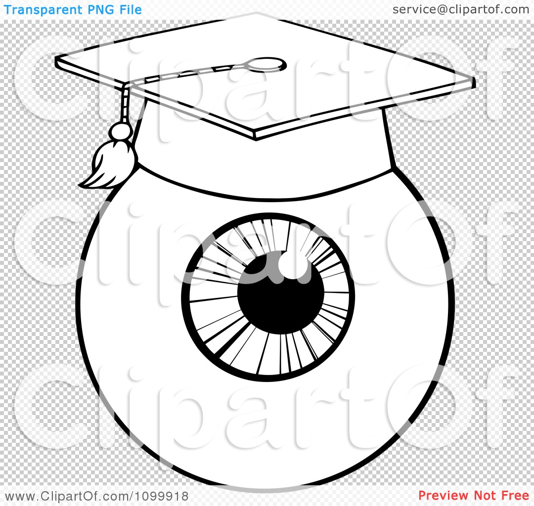 Clipart Black And White Eyeball Wearing A Graduation Cap