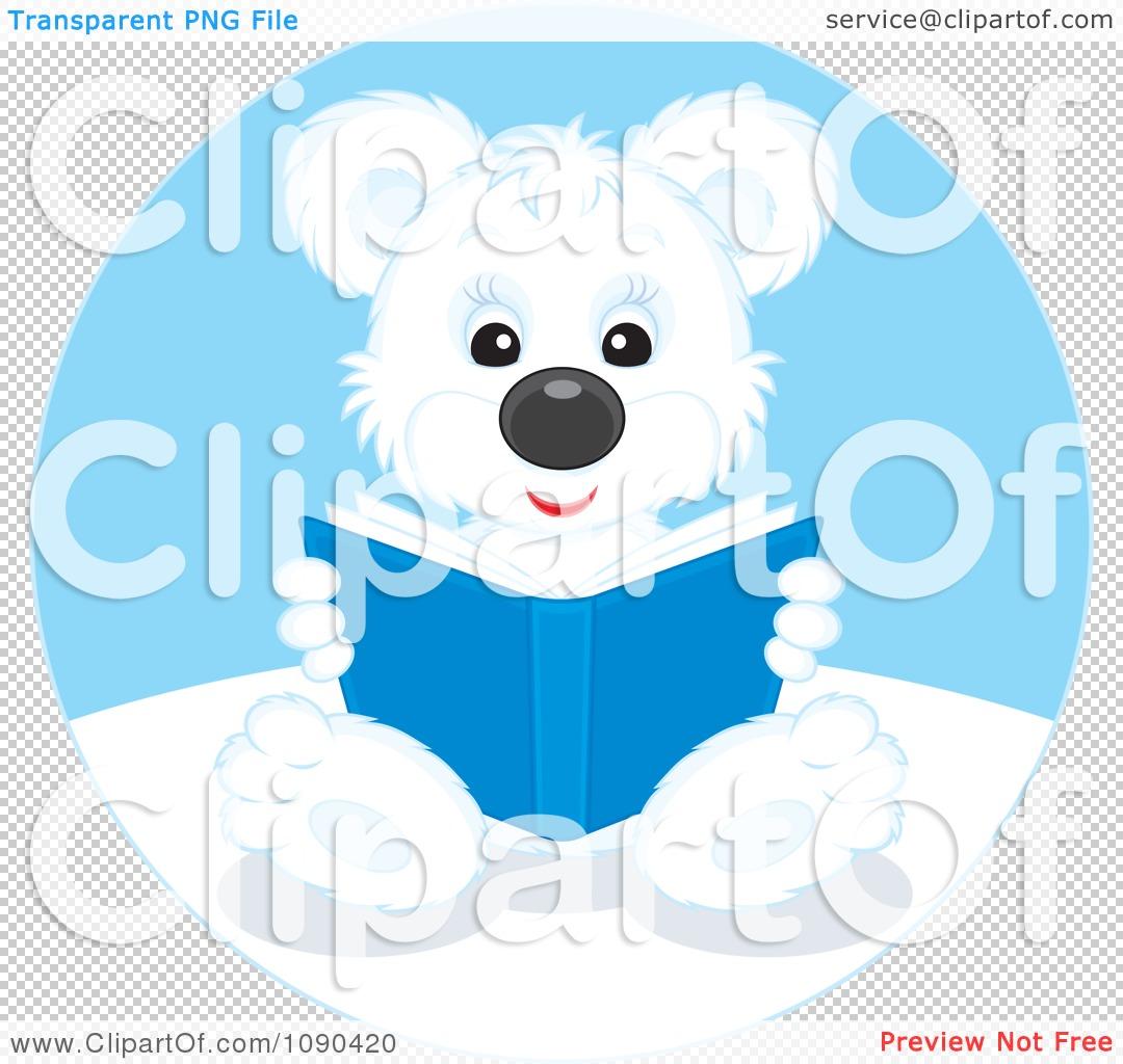 Clipart Cute Polar Bear Sitting And Reading A Book