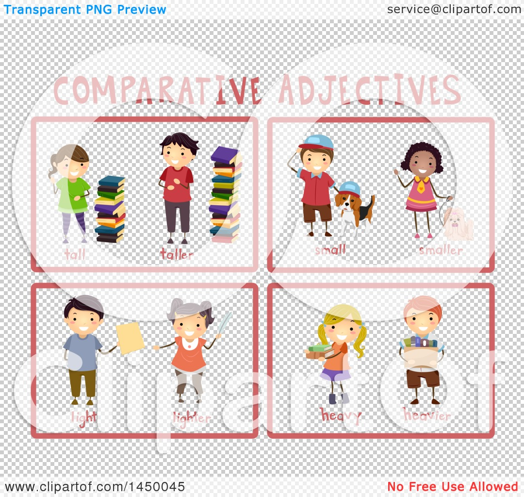 Clipart Graphic Of Educational Comparative Adjective Flash Cards