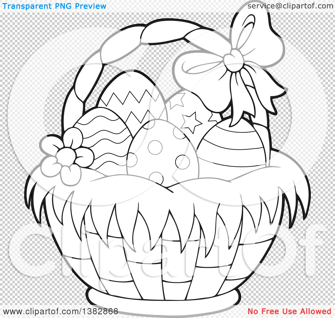 Clipart Of A Black And White Lineart Basket Of Easter Eggs