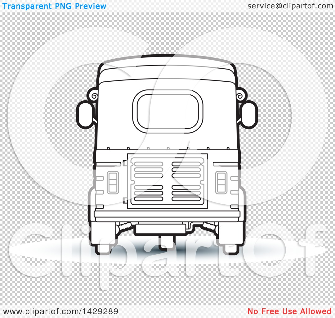Clipart Of A Black And White Rear View Of A Three Wheeler