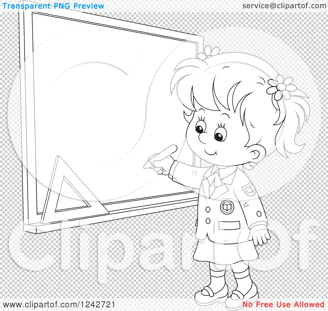 Clipart Of A Black And White School Girl Writing On A Grid