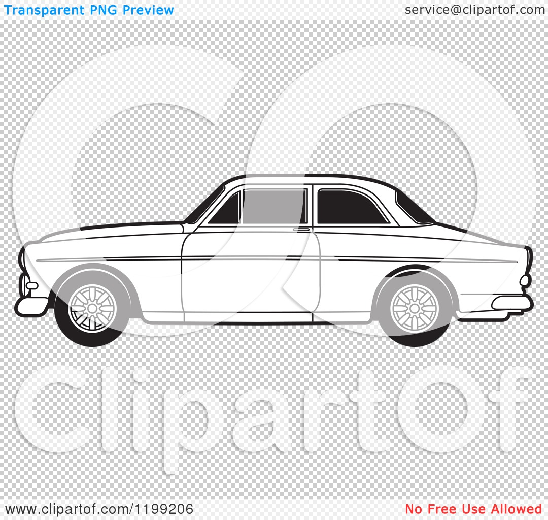 Clipart Of A Black And White Volvo Car