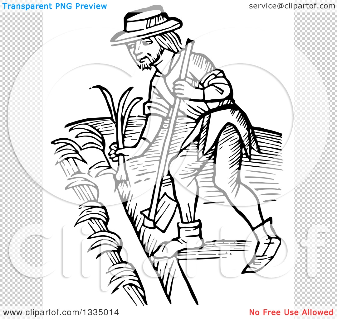 Clipart Of A Black And White Woodcut Me Val Man Using A