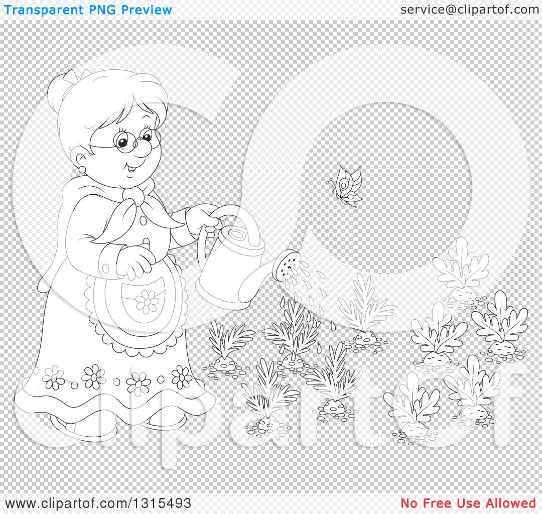 Clipart Of A Cartoon Black And White Granny Watering A