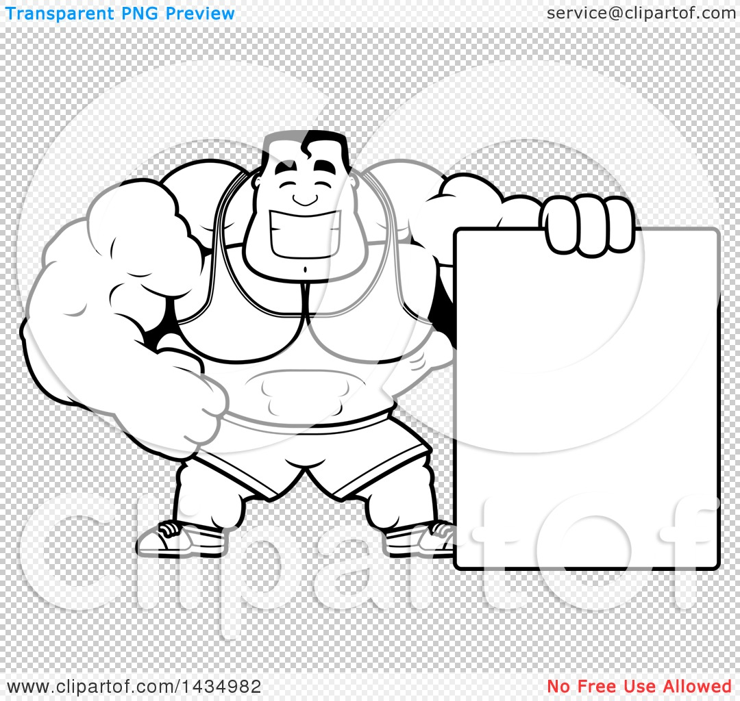 Clipart Of A Cartoon Black And White Lineart Buff Beefcake