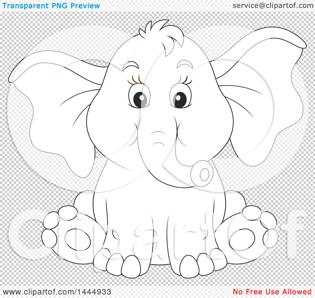 Clipart Of A Cartoon Black And White Lineart Cute Baby Elephant Sitting