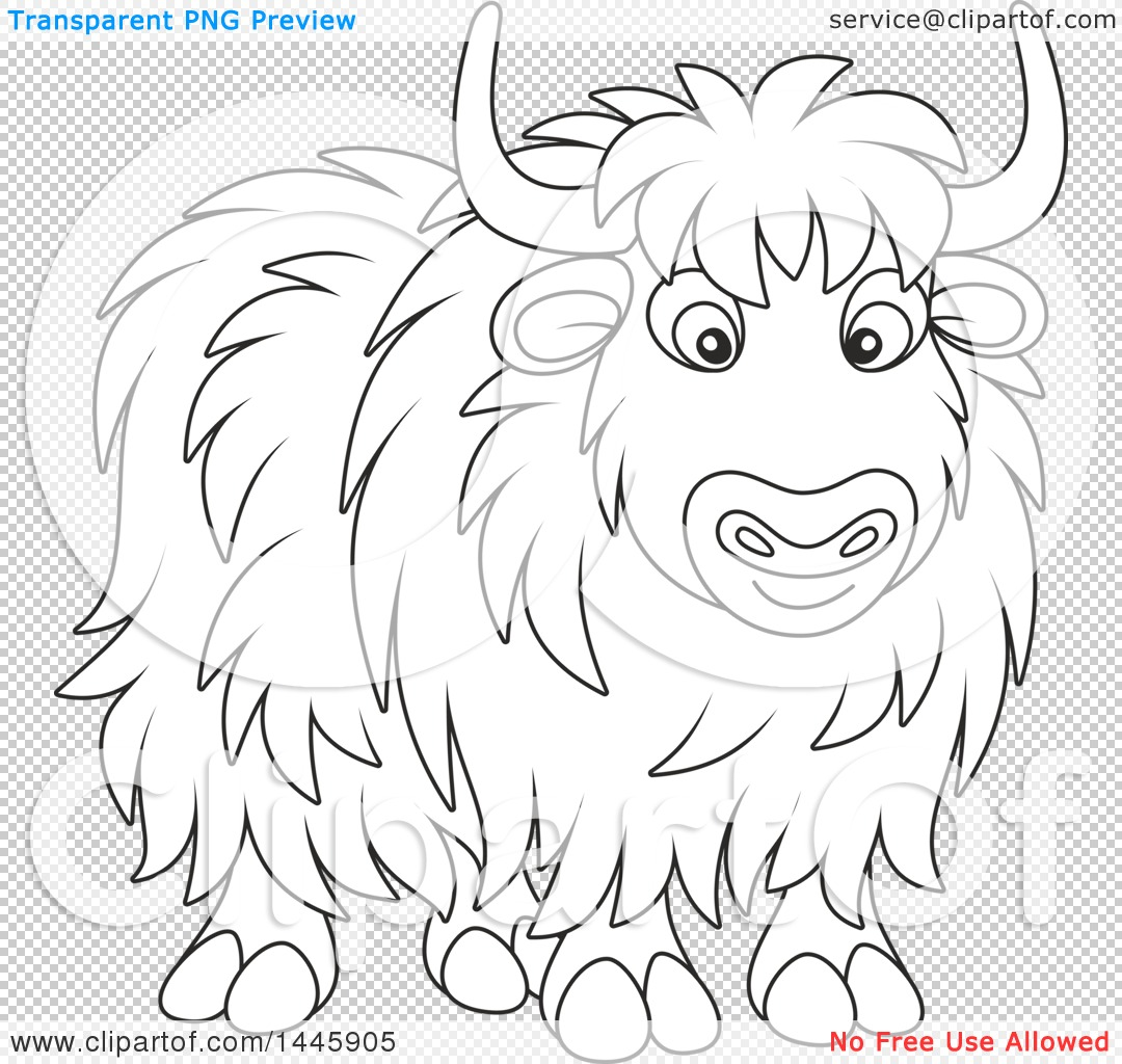 Clipart Of A Cartoon Black And White Lineart Yak