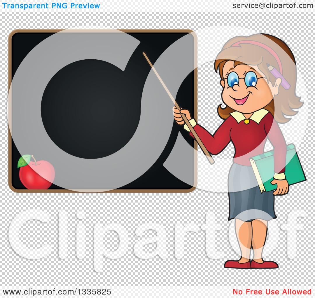 Clipart Of A Cartoon Brunette White Female Teacher Holding A Pointer Stick To A Black Board