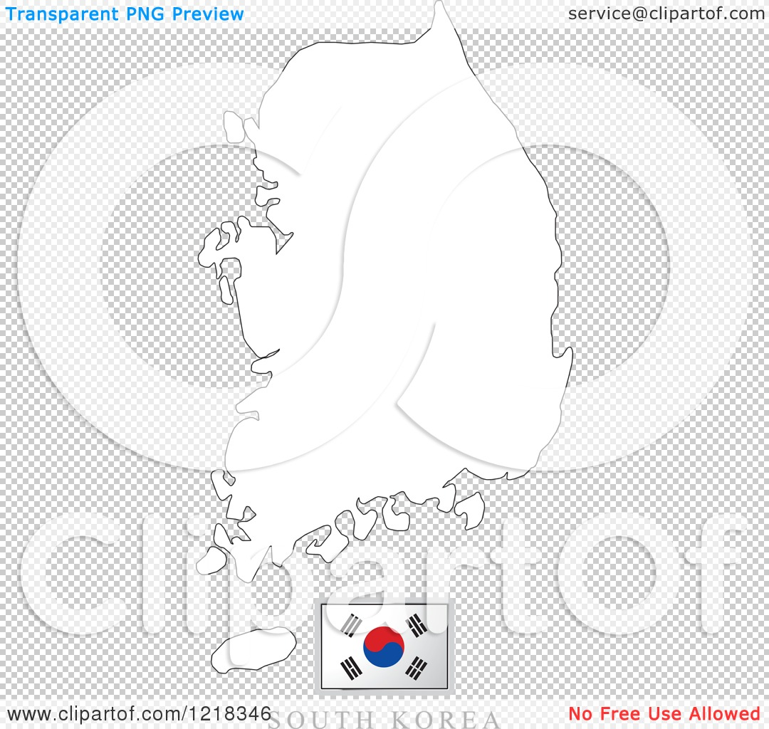 Clipart Of A South Korea Flag And Map Outline