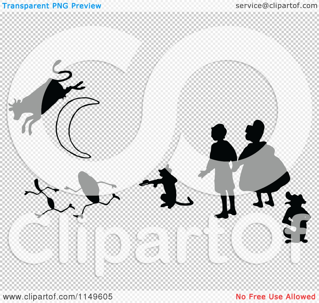Clipart Of Retro Vintage Black And White Kids With A Cat Fiddle Silver Spoon And Cow Jumping