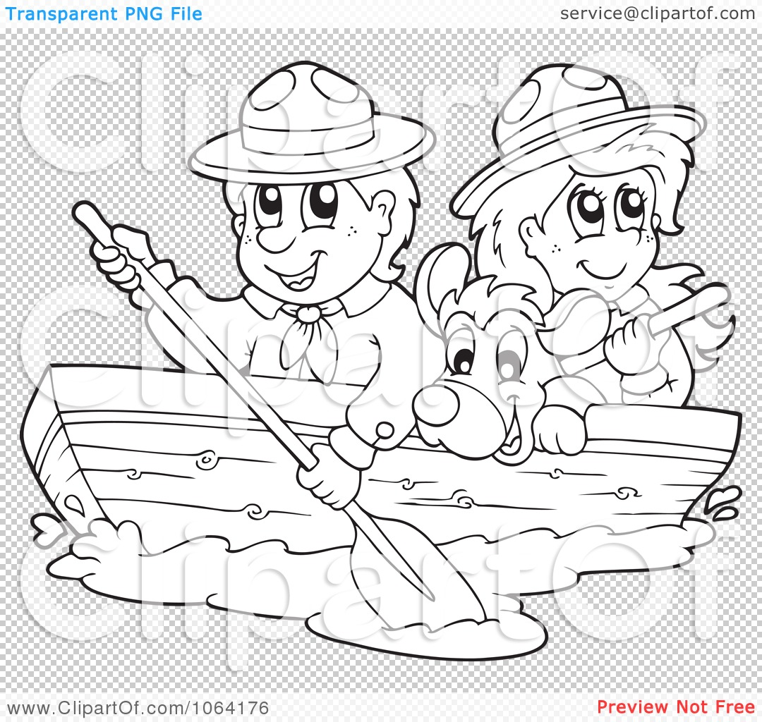 Clipart Outlined Boy And Girl Scout Boating With A Dog