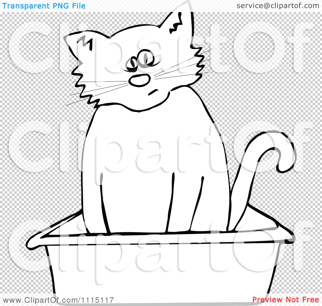Clipart Outlined Cat Using A Kitty Litter Box