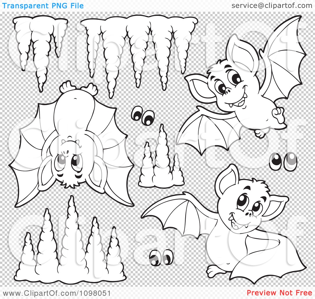 Clipart Outlined Cute Purple Bats Eyes And Cave Formations