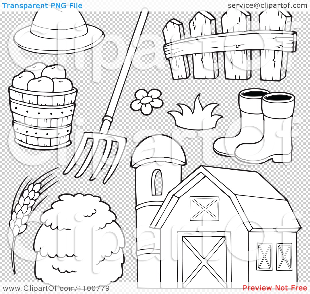 Clipart Outlined Farmer Hat Pitchfork Fence Rubber Boots