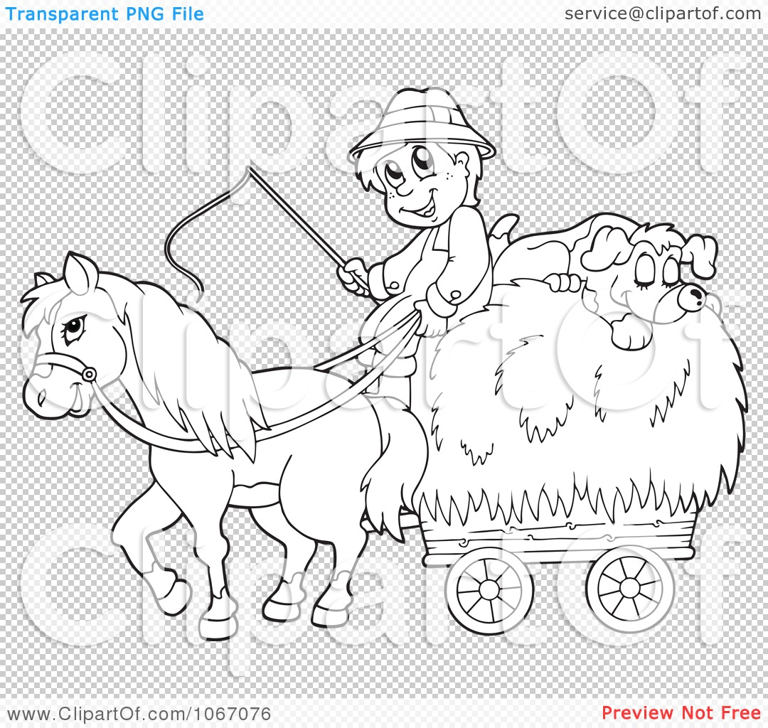 Clipart Outlined Farmer With A Horse And Dog Sleeping On
