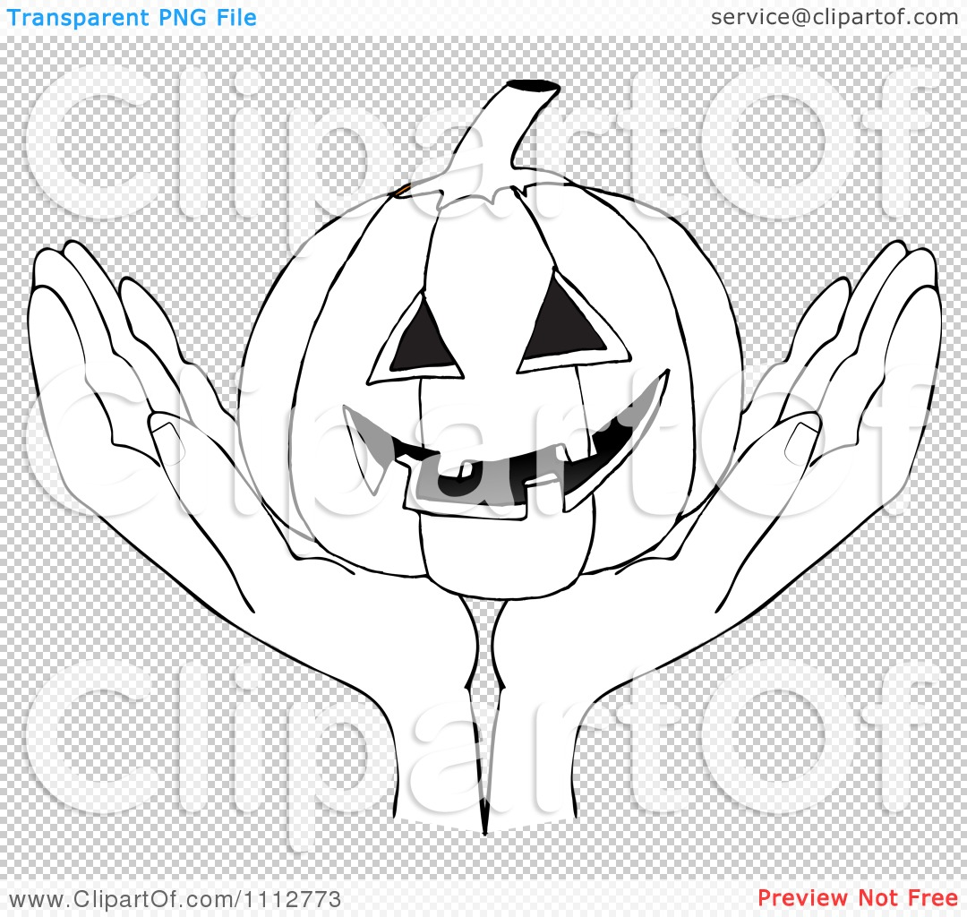 Clipart Outlined Hands Holding A Carved Halloween