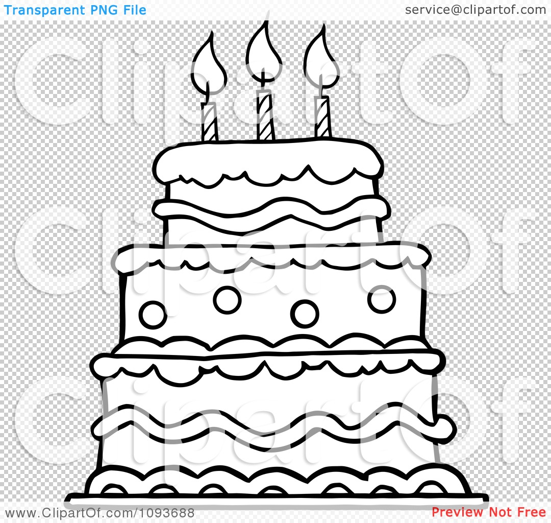 Clipart Outlined Layered Birthday Cake With Three Candles