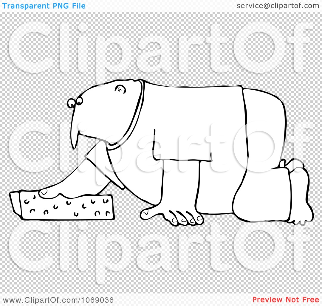 Clipart Outlined Man Kneeling And Cleaning With A Sponge