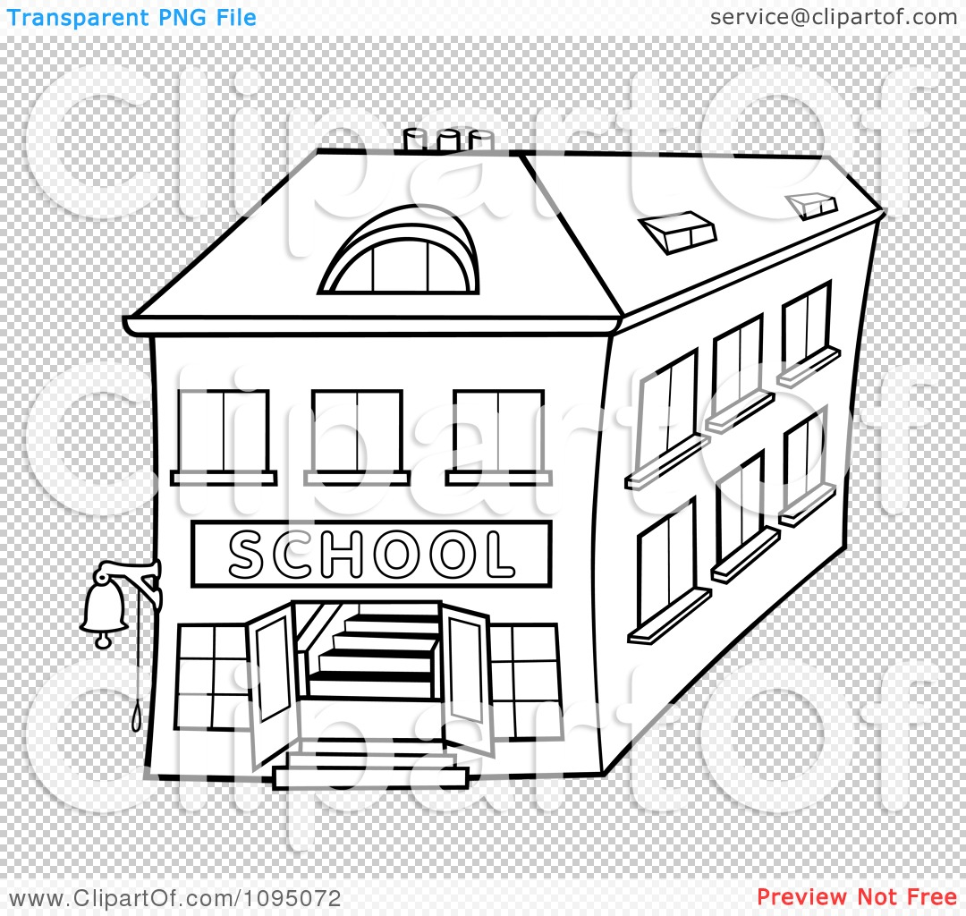 Clipart Outlined Two Story School Building