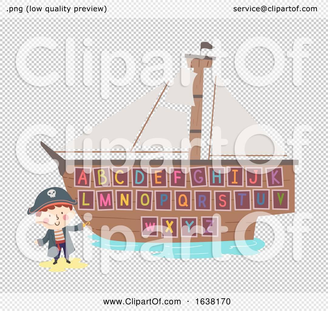 Kid Boy Hook Pirate Ship Alphabet Illustration By Bnp Design Studio