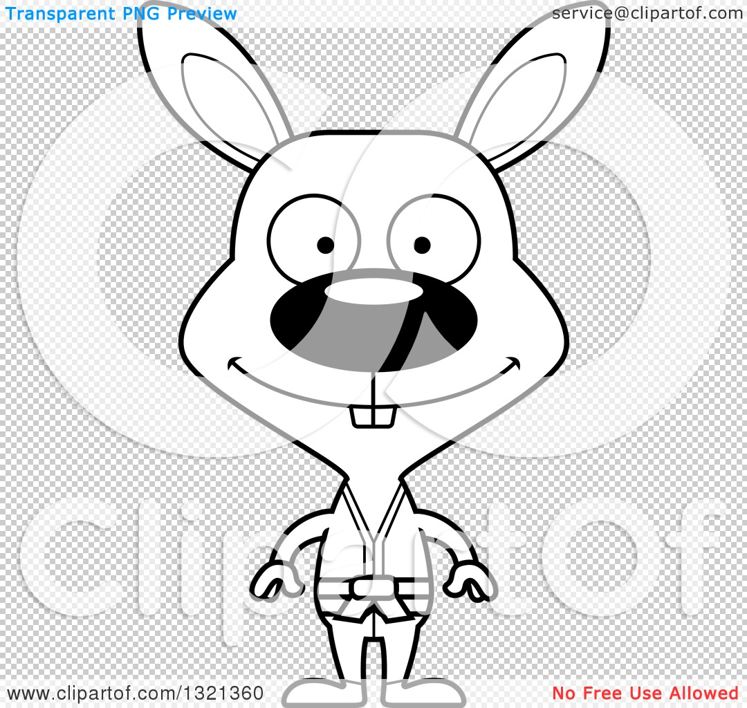 Lineart Clipart Of A Cartoon Black And White Happy Karate Rabbit