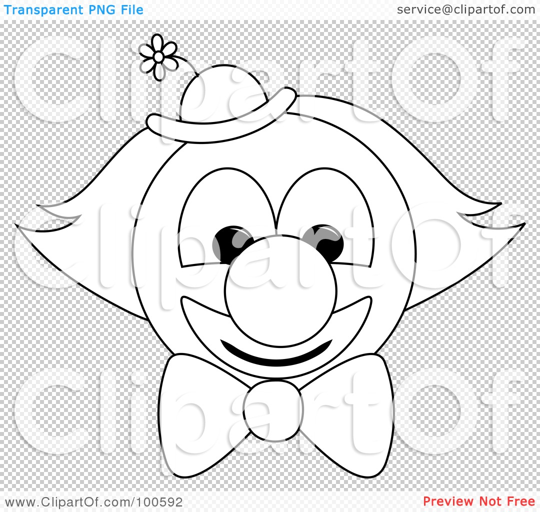 Royalty Free Rf Clipart Illustration Of A Coloring Page Outline Of A Clown Face With A Bow Tie