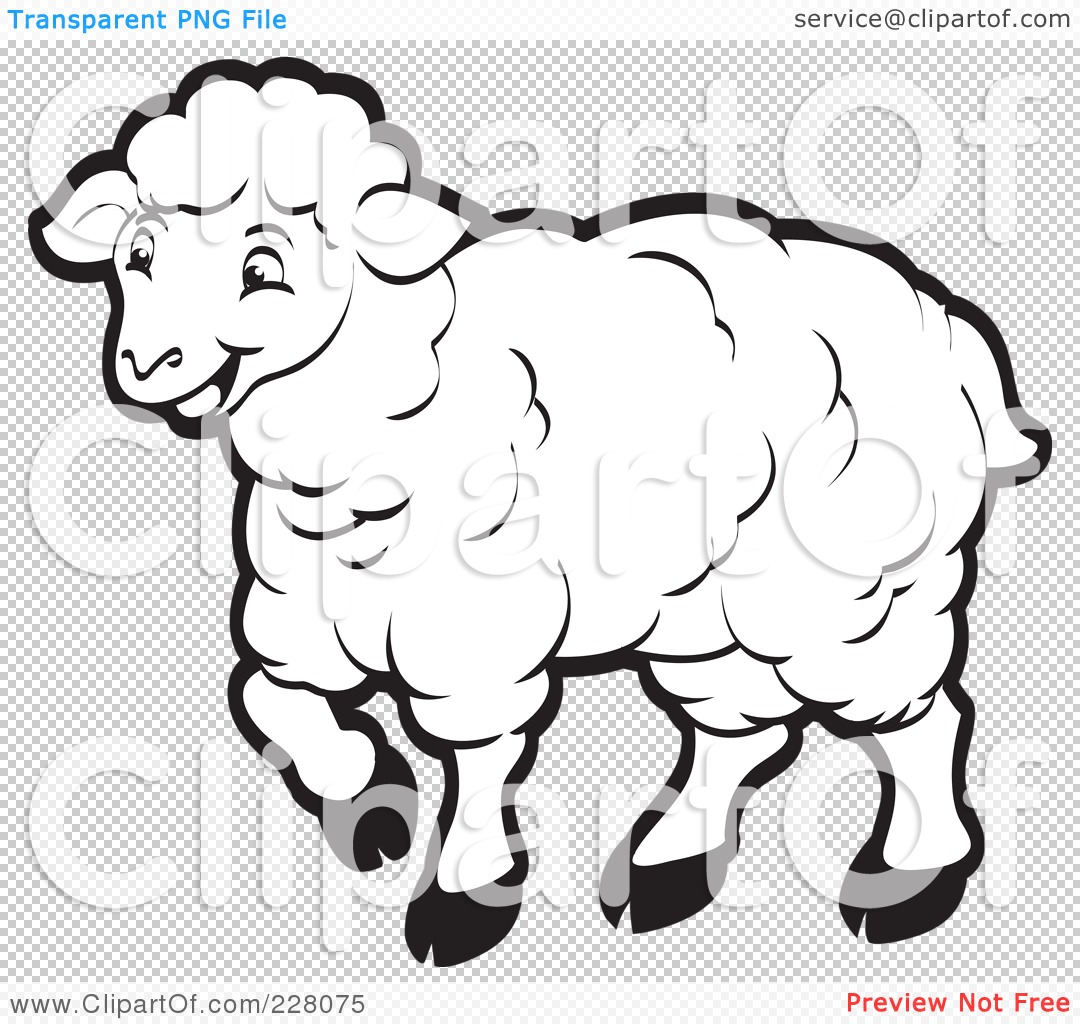 Royalty Free Rf Clipart Illustration Of A Coloring Page Outline Of A Happy Sheep By Lal Perera